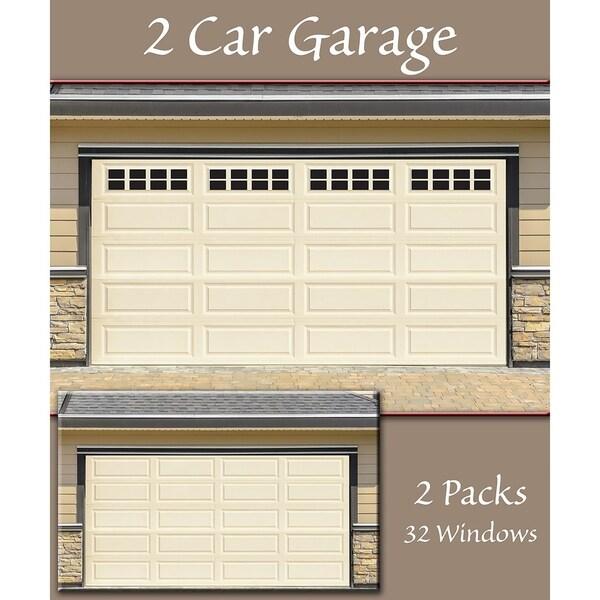 Shop Decorative Magnetic Double Door Garage Windows Black 32 Pc Set On Sale Overstock 22578060