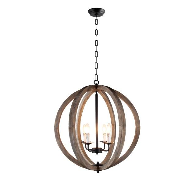 Rustic Vintage Black Wood 4-light Pendant Orb Chandelier