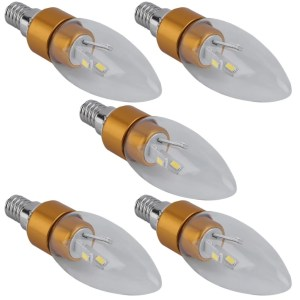 5PCS 6SMD/5730 E14 Chandelier Tail Candle Light Bulb Lamp Aluminum 85-265V 3W