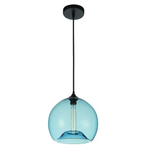 1-light Black Stainless Steel Mini Pendant with Transparent Blue Shade