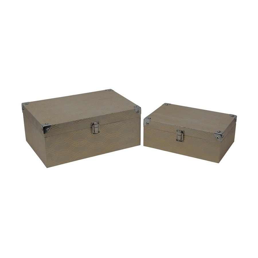 Cheung's Set of 2 Gold Wave Vinyl Storage Box with Chrome Corner Accent