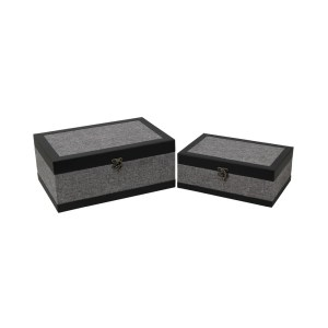 Cheung's Set of 2 Wood Storage Box with Gray Linen and Vinyl Edge