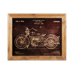 "UTC57802 Wood Rectangle Wall Art of ""1928 Motorcycle Patent Print by"