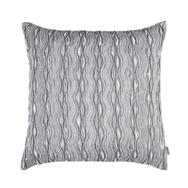 """Silk Cushion Cover Pintuck Pleated Fashion and 3D Striped18""""x18""""(Grey)"""