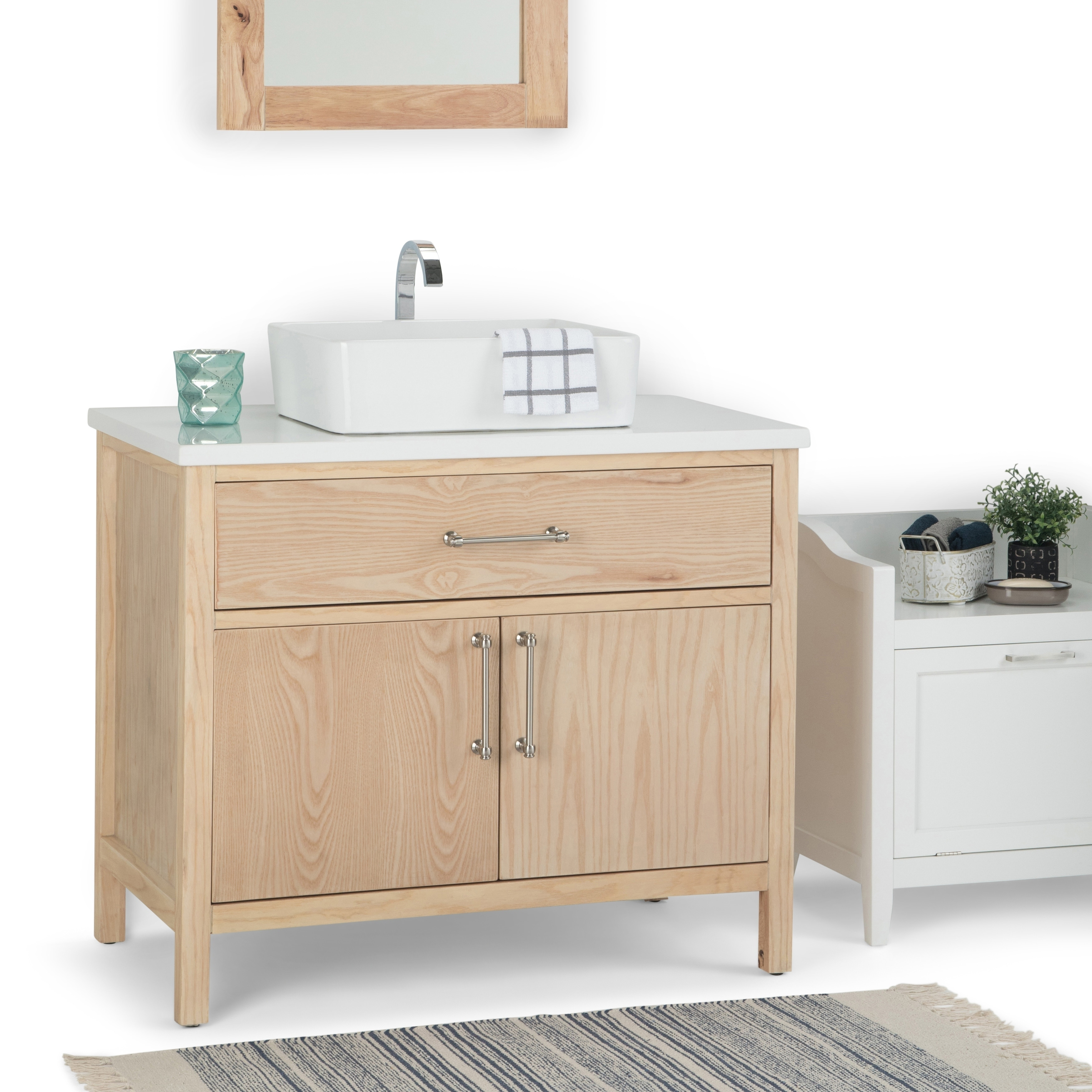 Shop Wyndenhall Farley 36 Inch Contemporary Bath Vanity In Natural With White Engineered Marble Extra Thick Top On Sale Overstock 22736252