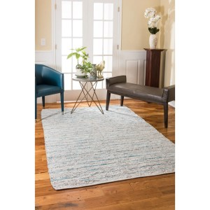 Natural Area Rugs Handmade Reversible Beckham Leather Rectangle Rug (8'X10') Blue - 8' x 10'