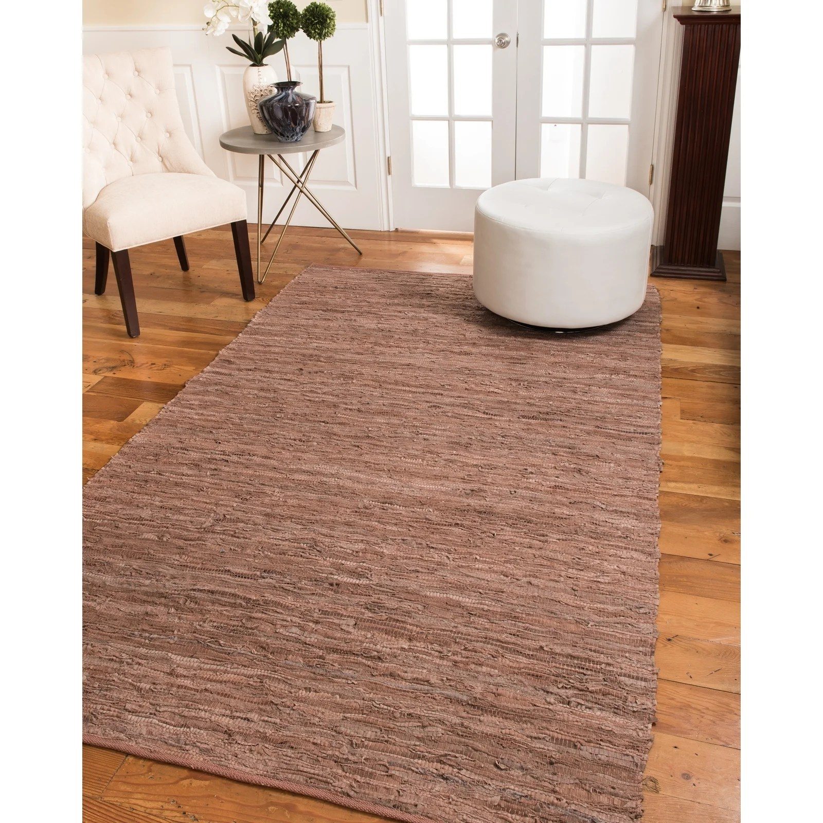 Natural Area Rugs Handmade Reversible Biscayne Leather Cotton Rectangle Rug (8'X10') Red - 8' x 10'