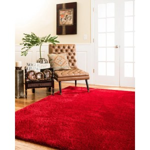 Natural Area Rugs Shag Merida Polyester Rectangle Rug (8'X10') Ruby - 8' x 10'