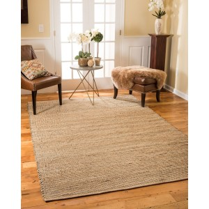 Natural Area Rugs 100% Natural Fiber Handmade Reversible Nottingham Jute Rectangle Rug (8'X10') Beige - 8' x 10'