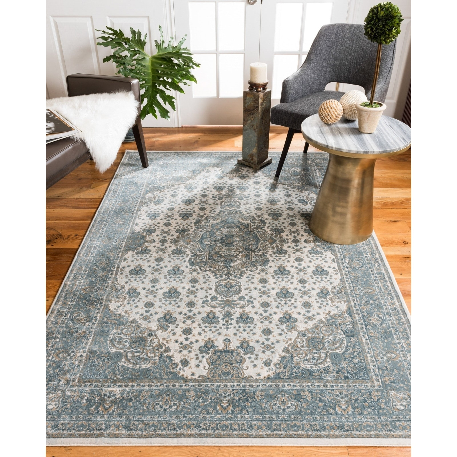 Natural Area Rugs Vintage Oriental Solara Polypropylene Rectangle Rug (3'X5') Blue - 6' x 9'