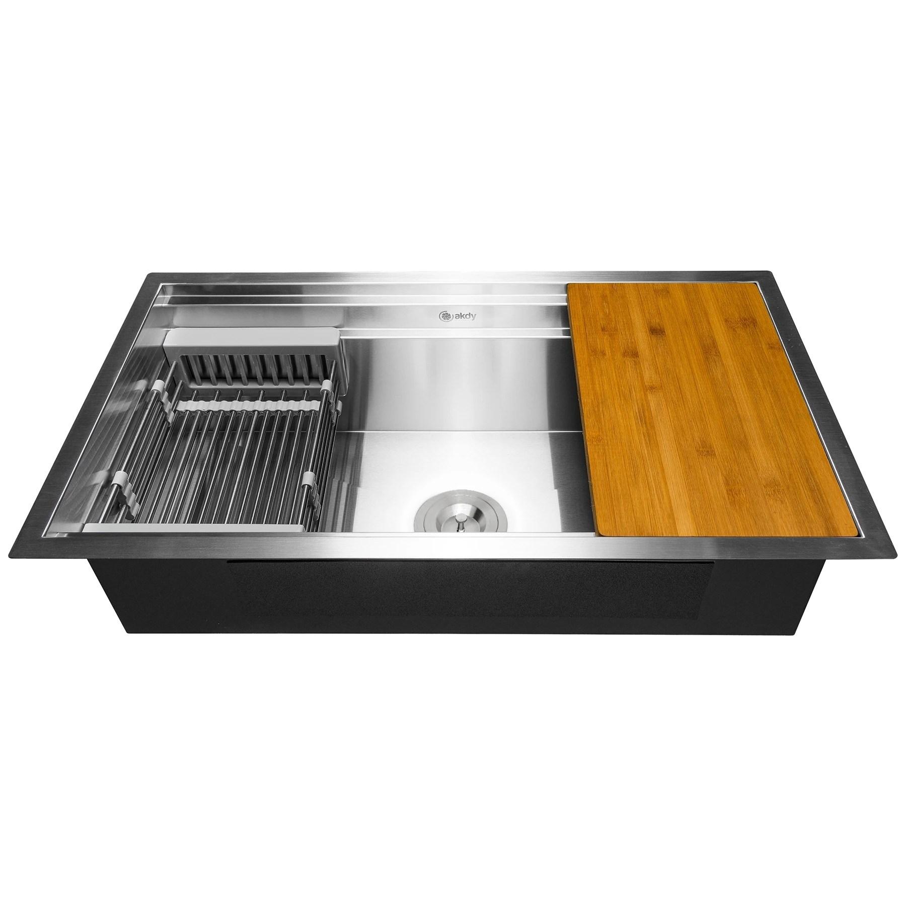 akdy 33 x 22 x 9 undermount stainless steel single bowl kitchen sink silver