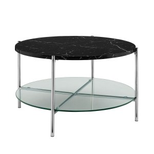 """WE Furniture 32"""" Round Coffee Table with Black Marble Top, Glass Shelf and Chrome Legs"""