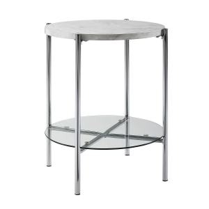 """WE Furniture 20"""" Round Side Table with White Marble Top, Glass Shelf and Chrome Legs"""