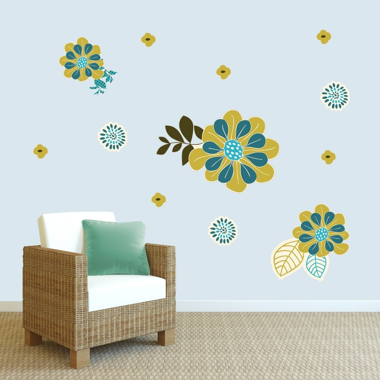 Green & Teal Flowers Printed Wall Decal Pack