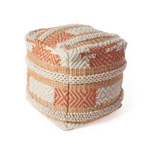 KAS Rugs Sunset Oasis Orange/Ivory Wool Pouf