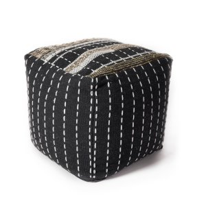 KAS Pulse Black/White Wool/Cotton Pouf