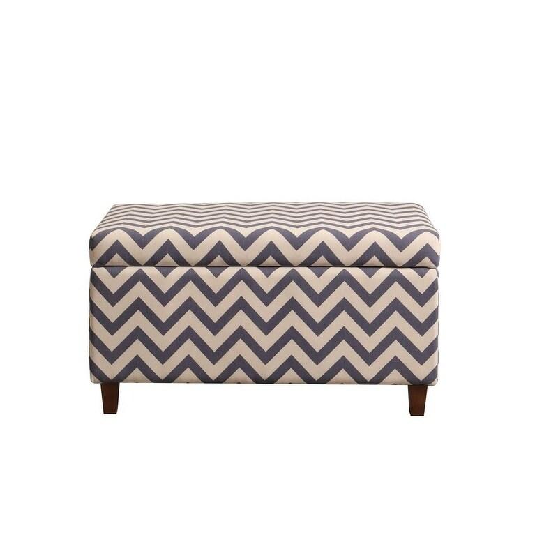 chevron patterned deep storage ottoman bench