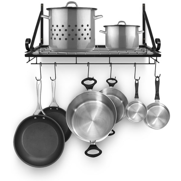 kitchen hooks how to build a island shop wall pot pan rack with 10 rustic free shipping on orders over 45 overstock com 22831206