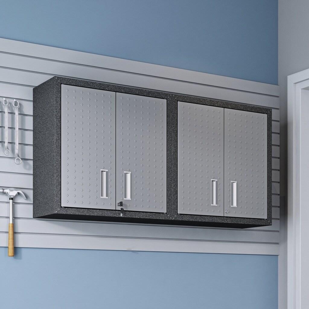 Shop 30 In Grey Metal Cabinets W Adjustable Floating Shelves Set Of 2 Overstock 22831467