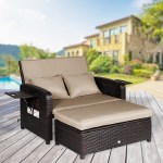 Outdoor Loveseat Recliner 2 Piece Rattan Resin Storage Arm Ergonomic Comfortable Modern Easy Assembly Brown Set Overstock 22846151