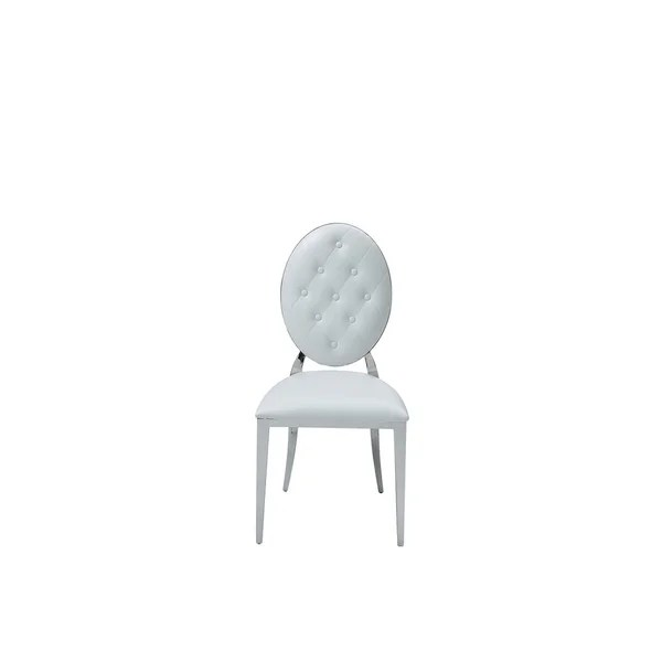 leather tufted dining chair children s folding chairs argos shop luca home white faux set of 2
