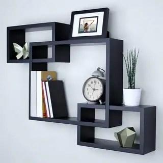 Shop Intersecting Squares Decorative Black Wall Shelf