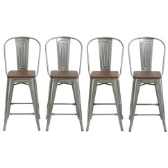 High Bar Stool Chairs See Through Plastic Chair Shop Antique Distressed Steel Wood 24 Back Set Of 4 Barstools