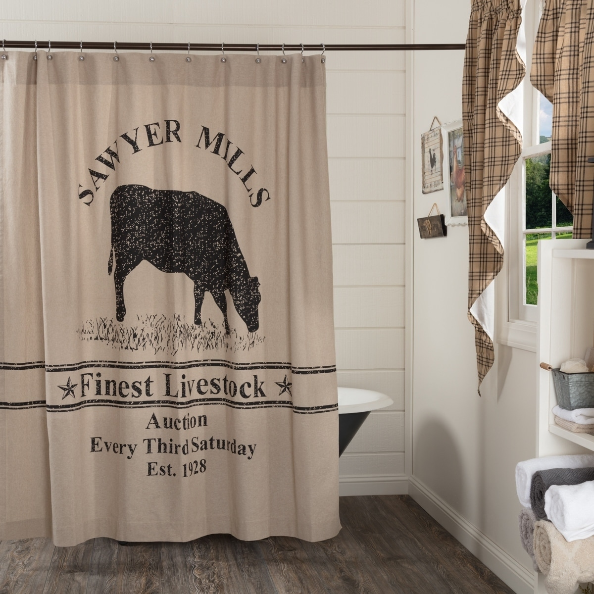 Tan Farmhouse Bath Vhc Sawyer Mill Cow Shower Curtain Rod Pocket Cotton Nature Print Stenciled Chambray