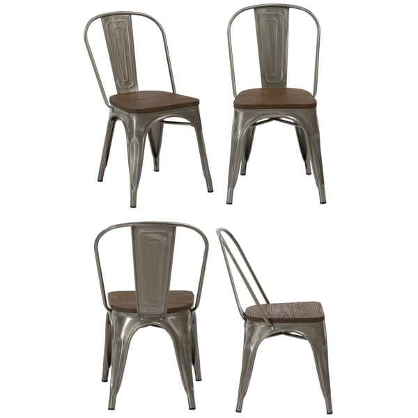 rustic metal dining chairs electric reclining for elderly shop industrial wood antique gun distressed