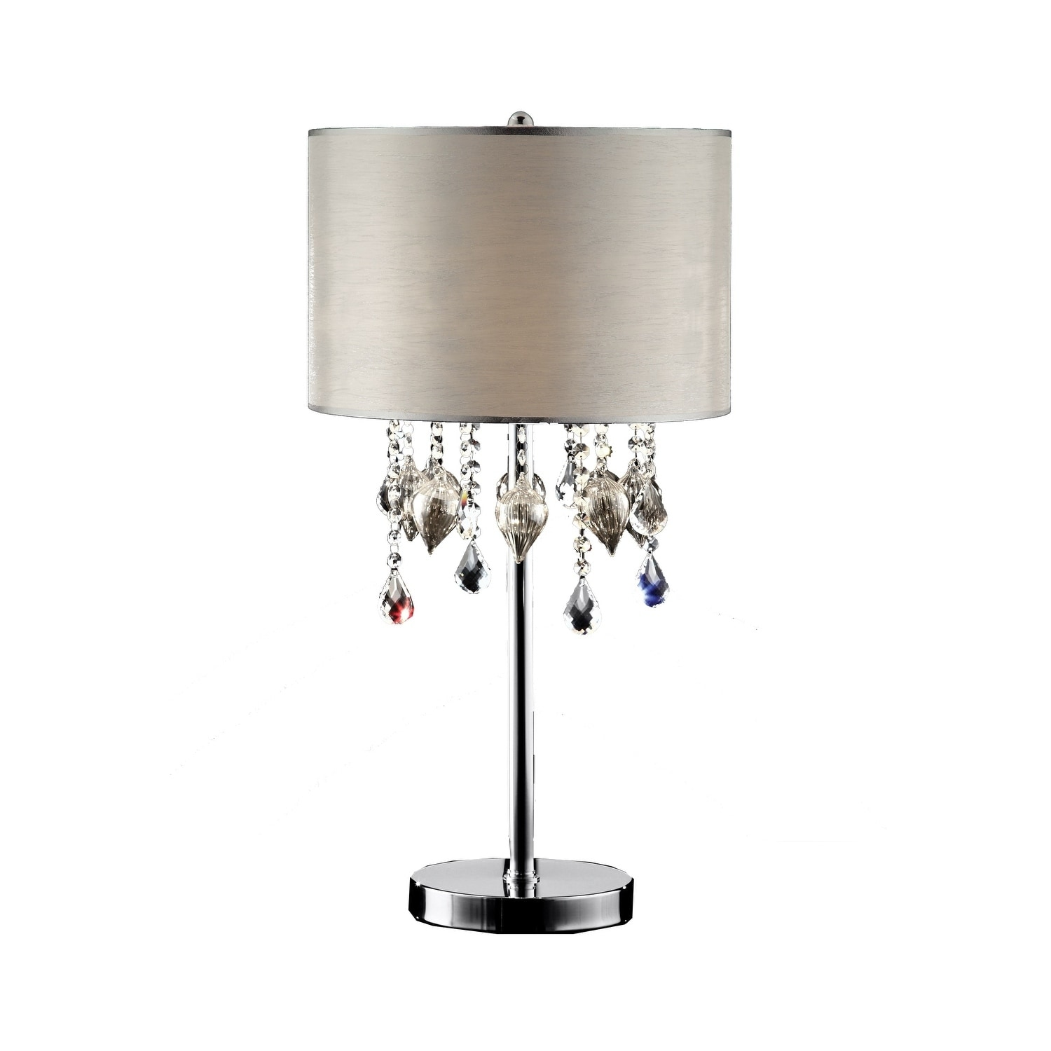 OK Lighting Drape Crystal Peach 3-light Polished Chrome Finish Table Lamp