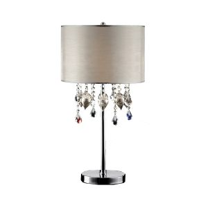 OK Lighting Drape Crystal Peach 3-light Polished Chrome Finish Table Lamp