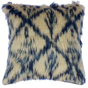 "Dan Ivory/Blue Handmade Moroccan Wool Throw Pillow(18""x18"")"