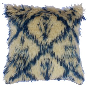 "Damon Ivory/Blue Handmade Moroccan Wool Throw Pillow(18""x18"")"