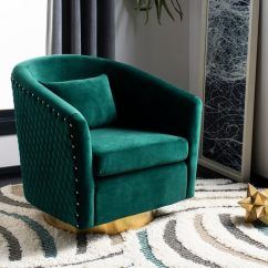 Quilted Swivel Chair High Ikea Shop Safavieh Couture Clara Tub Emerald Gold 29 92 In W X 31 69