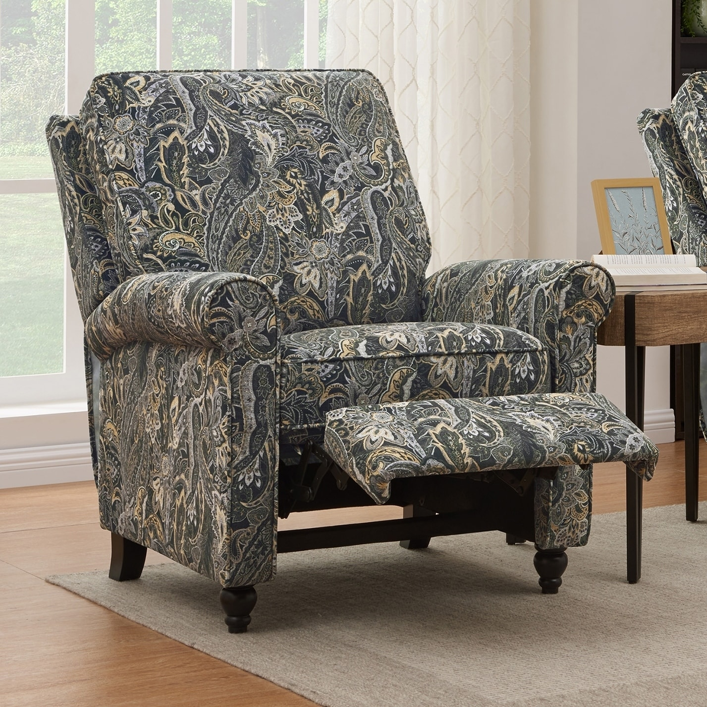 Paisley Chair Details About Prolounger Grey Paisley Velvet Push Back Recliner Chair