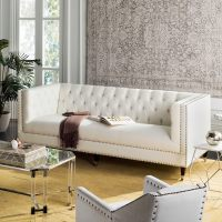 Safavieh Couture Miller White Leather Tufted Commercial ...