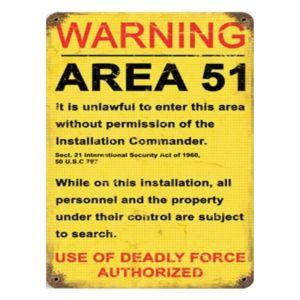 "Vintage Warning Area 51 Metal Sign 9"" x 12"""