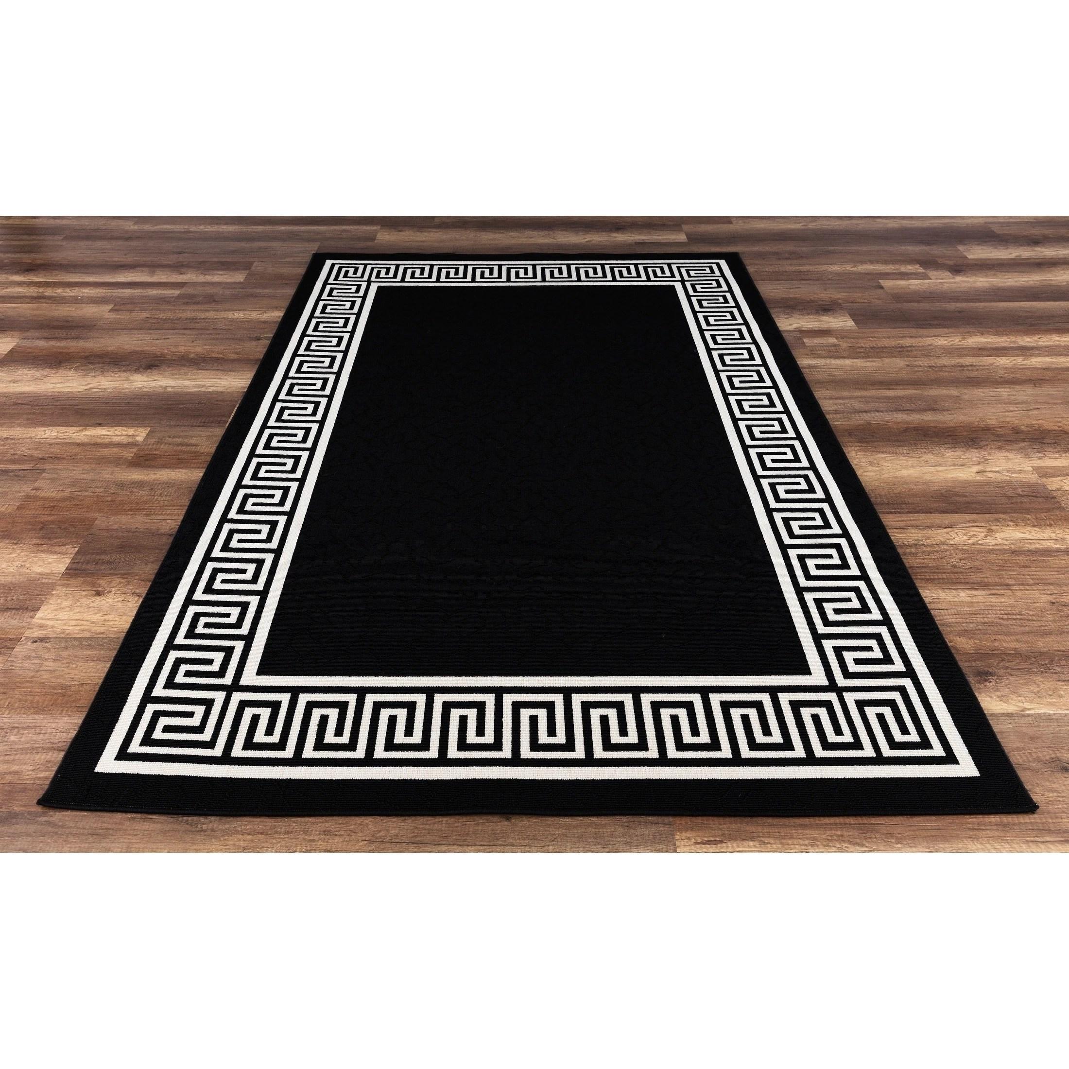 Gad Greek Key High Quality Indoor Outdoor Area Rug Black Overstock 22985819