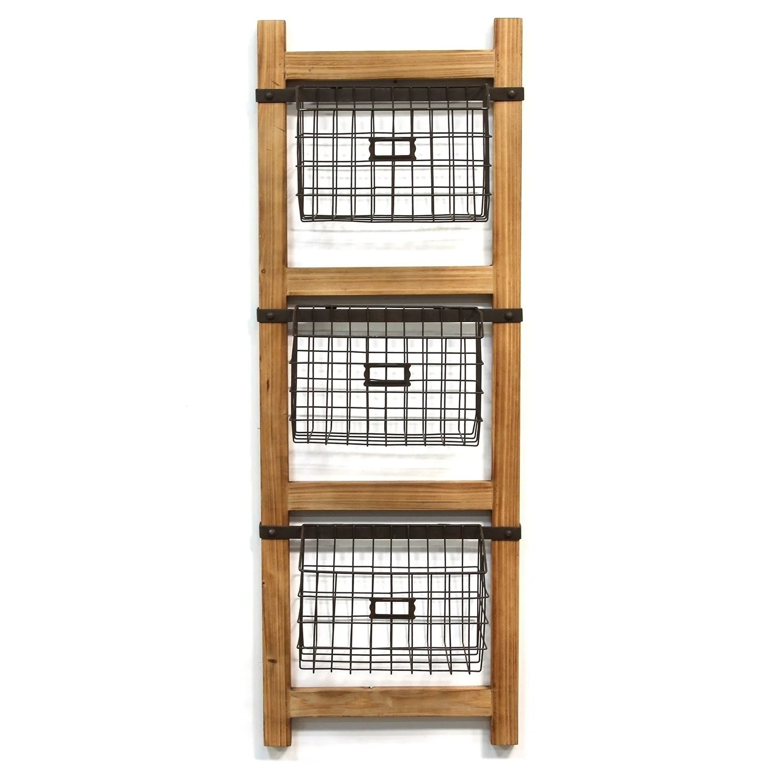 Stratton Home Decor Decorative Ladder With Baskets Wall Decor