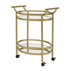 Offex Home Palazzo 2 Tier Clear Glass and Mirror Shelf Metal Oval Serving Bar Cart in Gold Finish