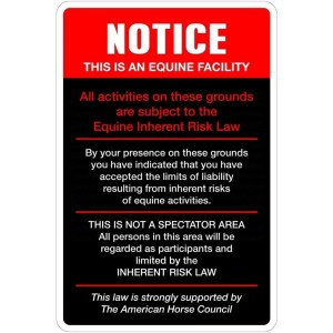 "Aluminum Notice This Is An Equine Facility 8""x12"" Metal Novelty Sign"