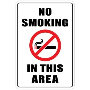 "Aluminum Warning No Smoking In This Area 8""x12"" Metal Novelty Sign"