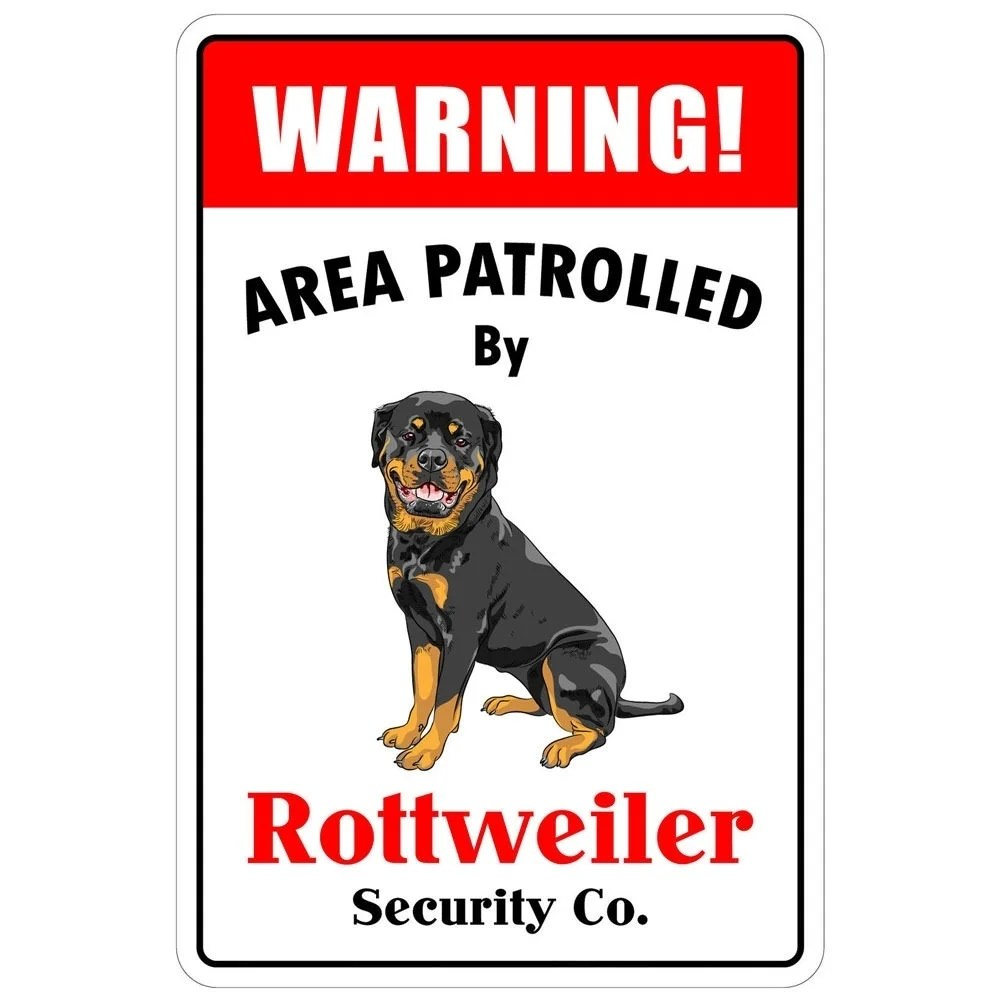 Aluminum Warning Area Patrolled By Rottweiler 8X12 Metal Novelty Sign