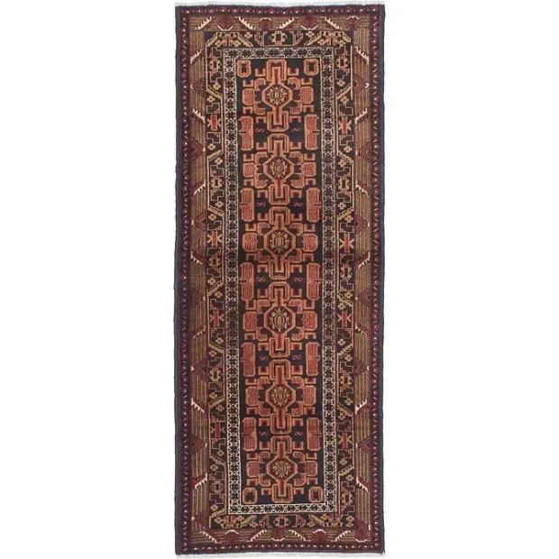 ECARPETGALLERY Hand-knotted Rizbaft Beige, Black Wool Rug - 2'8 x 7'2
