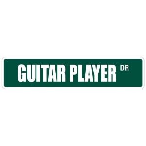 "Guitar Player 4"" x 18"" Metal Novelty Street Sign"