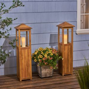 Claudine Acacia Wood Outdoor Candle Lanterns Set of 2 by Christopher Knight Home