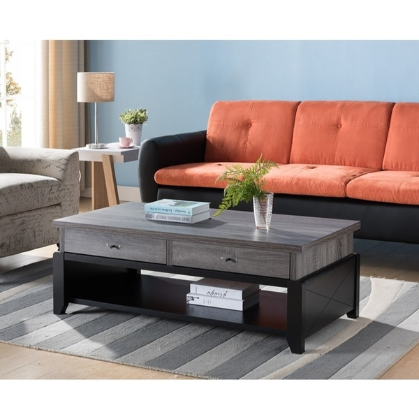 wooden coffee table with 2 drawers distressed gray and black