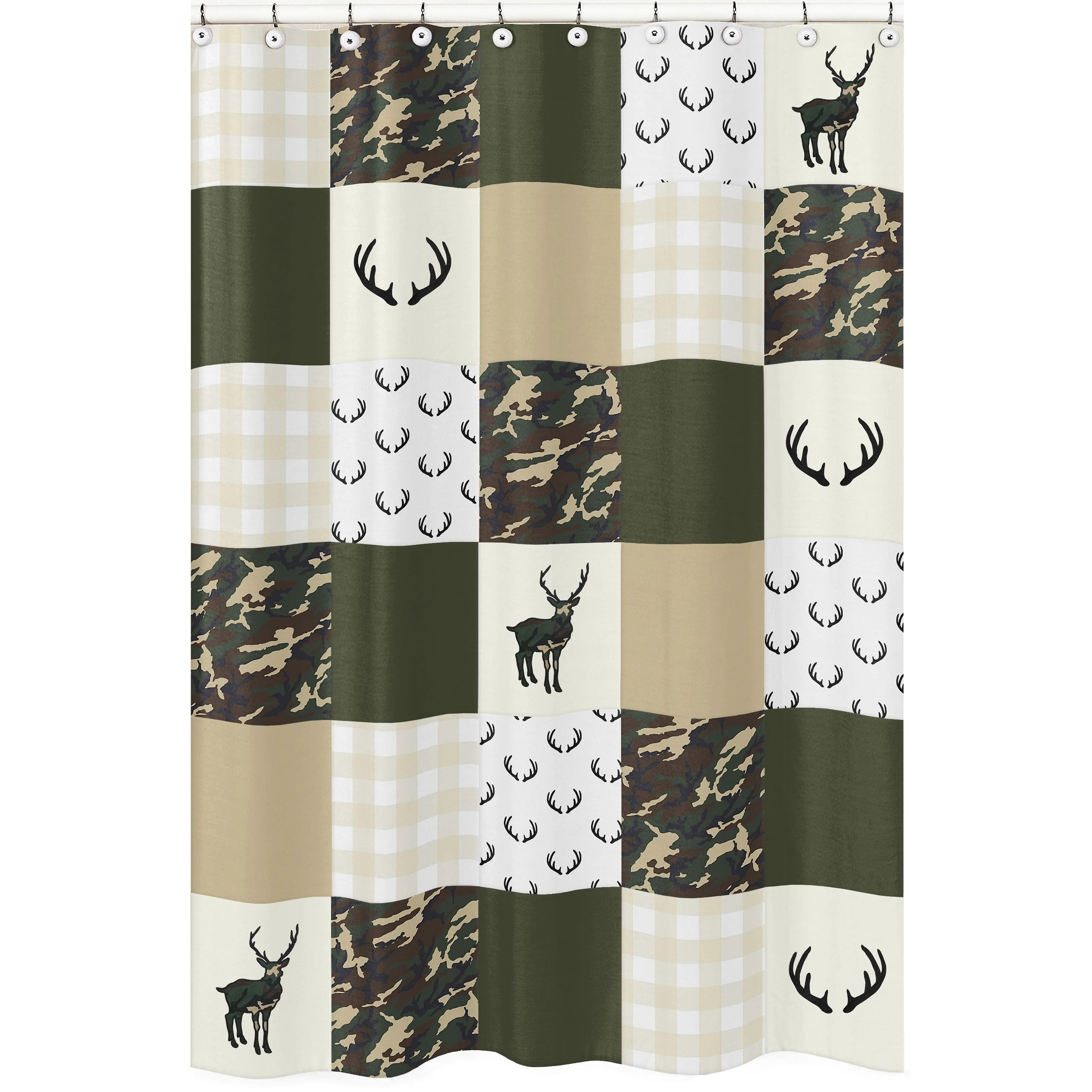 Sweet Jojo Designs Green And Beige Deer Buffalo Plaid Check Woodland Camo Collection Bathroom Fabric Bath Shower Curtain