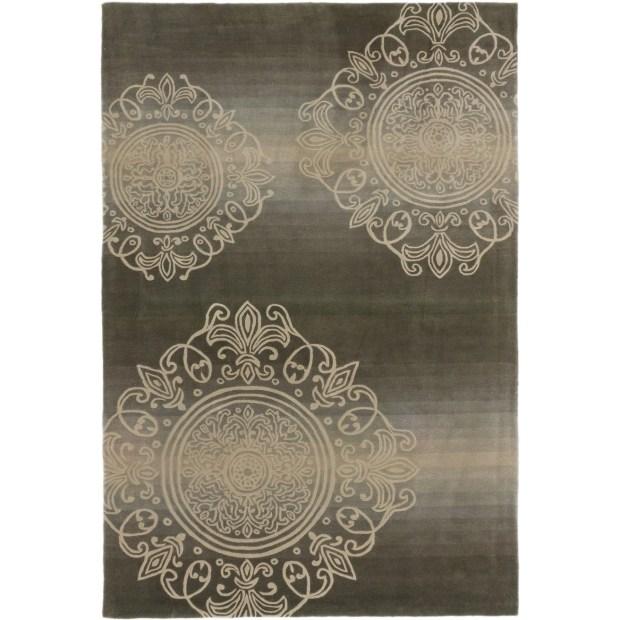 ECARPETGALLERY  Hand Tufted Pierrot Olive Wool Rug - 5'3 x 8'0