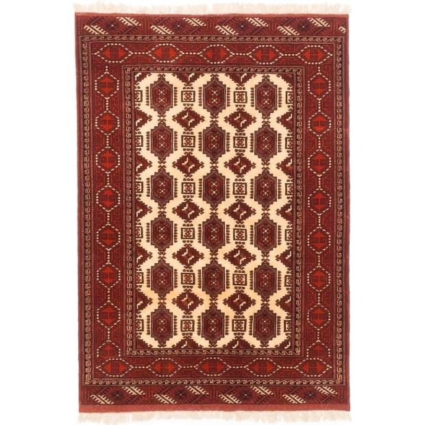 ECARPETGALLERY  Hand-knotted Shiravan Bokhara Cream, Dark Orange Wool Rug - 4'5 x 6'5